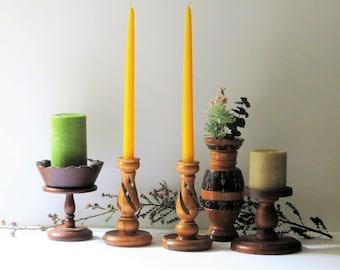 5 Wooden Candle Holders Hand Made Sassafras Wood Candlestick Holders Wooden Pedestal Bowl Pillar Holder