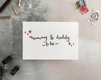 Mummy And Daddy To Be Letterpress New Baby Expecting Card