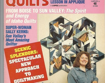 Patchwork Quilts magazine February 1993 - Idaho, applique, traditional, howling wolf / coyote
