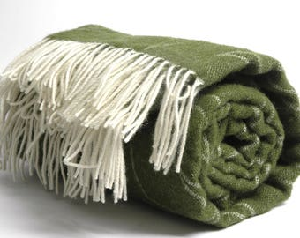 Pure Merino Wool blanket with fringes Green White Wool blanket Pure wool throws Merino Wool throw 51''X81''130X205cm Perfect gift