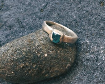 Secret from childhood silver apatite stackable ring