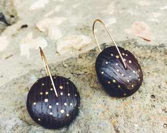 The Universe earrings wooden incrustation oak beads