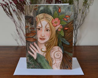 SALE! Wood Nymph Greetings Card - Fantasy Art Painting Faery - with envelope