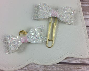 Chunky White Glitter Bow Clip or Charm // Bookmark // Paperclip // Planner Accessories