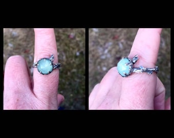 Twig, Leaf, and Flower Adjustable Memorial Ring