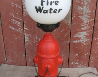 """Vintage """"Fire Water"""" Whiskey Fire Hydrant Lamp"""
