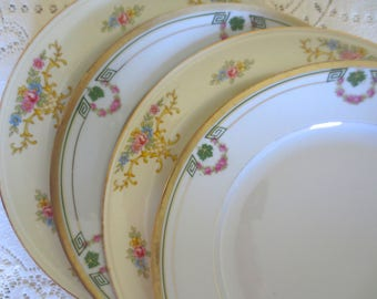 Set of 4 Mismatched Dinner Plates. Floral China Plates. Mix Match Plates. Shabby Chic Dishes. Dinnerware, Alice in Wonderland, Tea Party