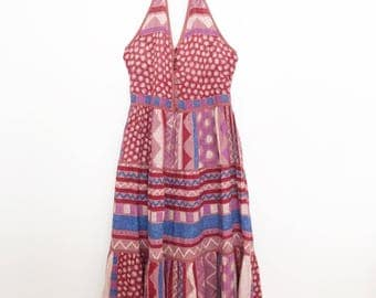 1970s indian cotton phool aztec print halter summer dress