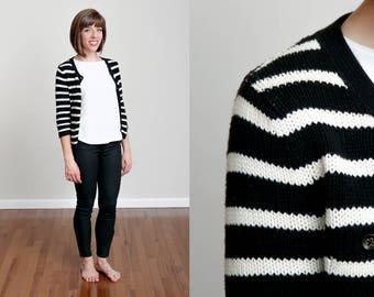 1990s Black and White Stripe Knit Cardigan - Classic - Basic - S