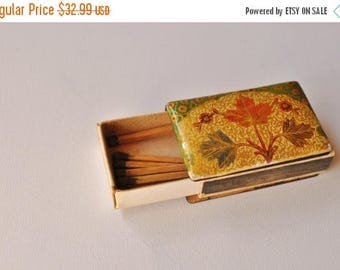 ON SALE - Hand Painted Enamel Wood Stick Match Case