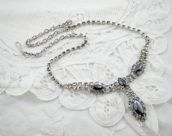 Vintage Rhinestone Necklace, Hematite