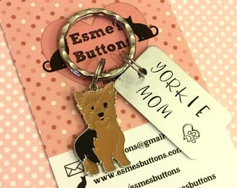 Yorkie keyring, yorkie gift, yorkie Mom, hand Stamped Key Ring, bag charm, gift for him, gift for her,