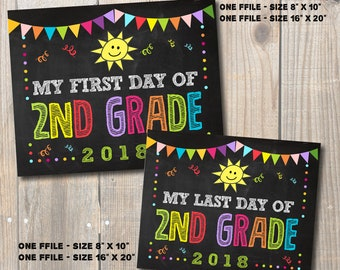 """First and Last Day of Second Grade Sign 2018, School Chalkboard Digital Printable Signs 8""""x 10"""" and 16""""x 20"""""""