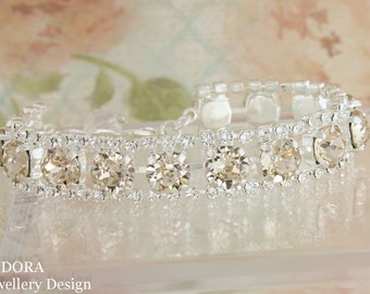 Champagne wedding bracelet,champagne wedding jewelry,champagne bridal bracelet,Swarovski champagne,champagne,Swarovski Light silk,bridal