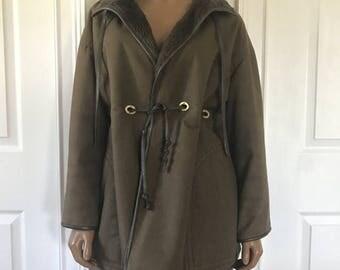 SALE Sills Bonnie Cashin Jacket Coat Dark Green Leather Brown Trim Shealing Lining S/M
