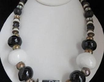 ON SALE! Chunky Black White Glass Necklace, Vintage Boho Beaded Necklace, Brass, Silvertone Metal Tribal Necklace
