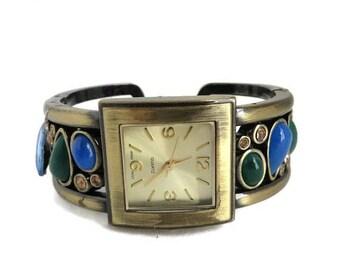 ON SALE! Women's Cuff Bracelet Watch Japan Movement Rhinestone Faux Gemstone Watch Costume Jewelry Gift Idea