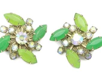 Green Rhinestone Flower Earrings, Vintage Juliana Style, Gold Tone Clip-on Earrings, Bridal Jewelry