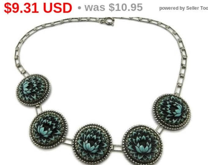 Faux Turquoise Flower Disk Necklace, Vintage Silver Tone Chain Link Necklace