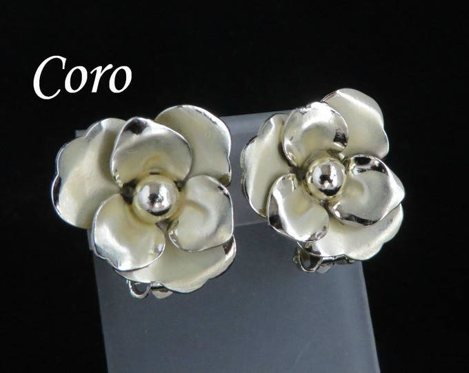 Coro Flower Earrings, Vintage Gold Clip on Earrings, Brushed and Polished Floral Signed Designer Jewelry, FREE SHIPPING