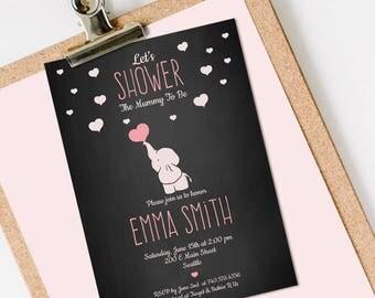 Elephant Baby Shower Invitation, Elephant Baby Shower, Baby Shower Invitation Elephant INSTANT DOWNLOAD you personalize at ho