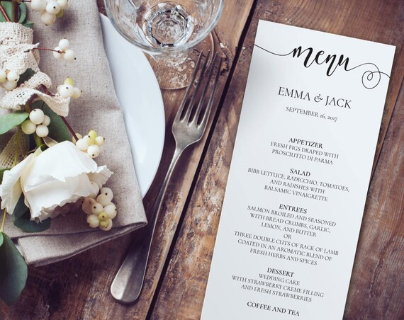 Wedding Menu INSTANT DOWNLOAD