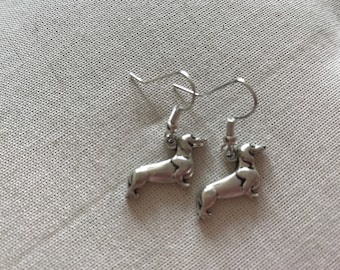 Dachshund sausage dog silver coloured earrings end of line