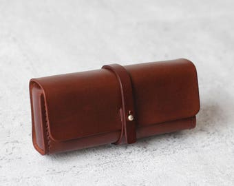Dark brown vegetable-tanned leather pencil case/pen Pouch/ sunglasses case