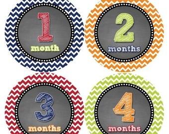 Monthly Baby Milestone Stickers Baby Boy Baby Shower Gift One-Piece Baby Stickers Monthly Baby Stickers Baby Month Sticker 420
