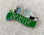 Seattle Skyline Lapel Pin / Seattle Washington Flair / Modern Seattle Gift / Cool Seattle Gift for Her / Mt Rainer / Stocking Stuffer
