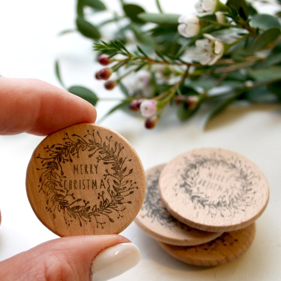 Merry Christmas Wreath - Rubber Stamp - Christmas Rubber Stamp - Merry Christmas Stamp - Clear Stamp - Little Stamp Store