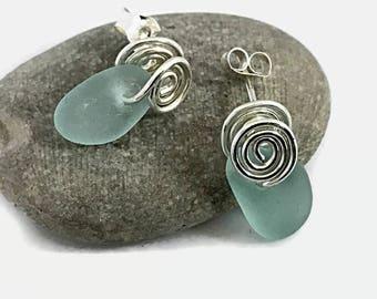 Aqua Sea Glass Earrings Set in Sterling Silver, Mermaids Tears