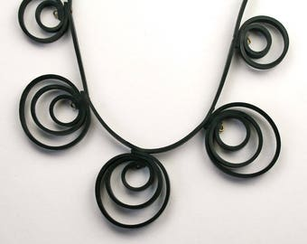 Inner tube Jewelry. Black statement necklace TANGA. Recycled jewelry. Original, eco-friendly St. Valentine's gift for women. Vegan jewelry.