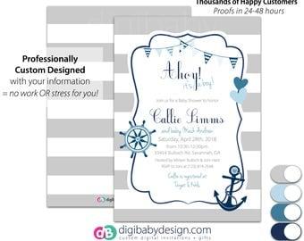 Nautical baby shower invitation, Baby Boy Baby Shower Invite, Ahoy it's a Boy Baby Shower Invite, blue and gray, Printable Invitation