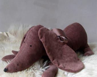 Weiner dog Stuffed animal dog Dachshund toy pillow Brown Sausage dog Velvet dog toy Dog lover gift  Dog Doxie Soft toy dog Plush dog toy