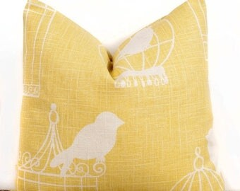 SALE ENDS SOON Yellow Pillow Cover, 16x16 inch,  Bird Cage Design,  Home Decor Accents, Decorative Pillows, 16 x 16""