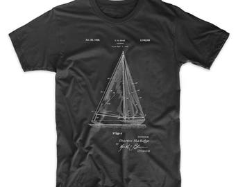 Sailboat Patent T Shirt, Sailboat Shirt, Nautical T Shirt, PP1042