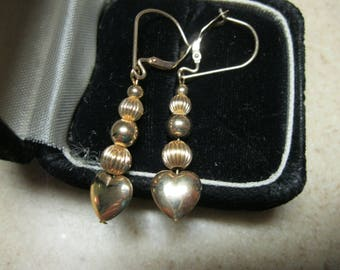 Sweet 14K Heart and Ball Drop Earrings with Lever Backs