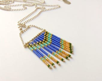 "925 Silver necklace-""Shappa"" - long silver necklace - fringe necklace - hippie chic necklace - Long blue necklace - Silver 925 1000"