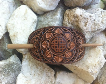 Celtic knot hand carved leather hair barrette