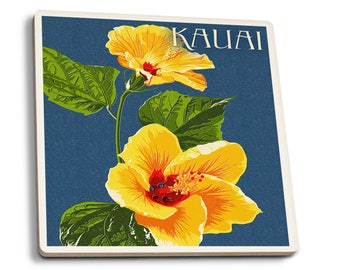 Kauai, HI Yellow Hibiscus Letterpress - LP Artwork (Set of 4 Ceramic Coasters)