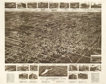 Hammonton, New Jersey - Panoramic Map (Art Print - Multiple Sizes Available)