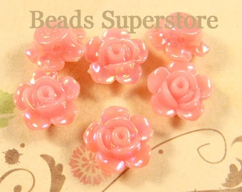 13 mm x 8 mm Rose AB Resin Flower Bead - 10 pcs