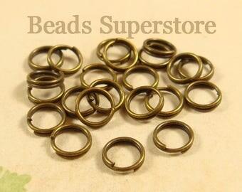 6 mm Antique Bronze Split Ring - Nickel Free and Lead Free - 100 pcs (SR5AB)