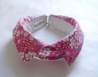 Faux-collar in pink Liberty cotton , atypical necklace...