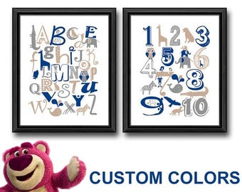 animal alphabet kids wall art, animal alphabet nursery wall art, animal nursery wall art, animal alphabet baby room decor, animal abc print