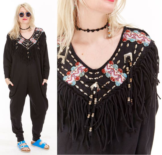 Vtg 80s 90s Grunge Oversized Drape JUMPSUIT Onesie One Piece FRINGE Southwestern Tribal Beaded Studded Baggy Minimal Native American Conchos