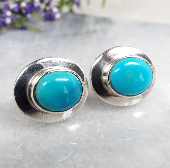 Vintage / Sterling Silver Modernist Oval Turquoise Cabochon Stud Earrings 925
