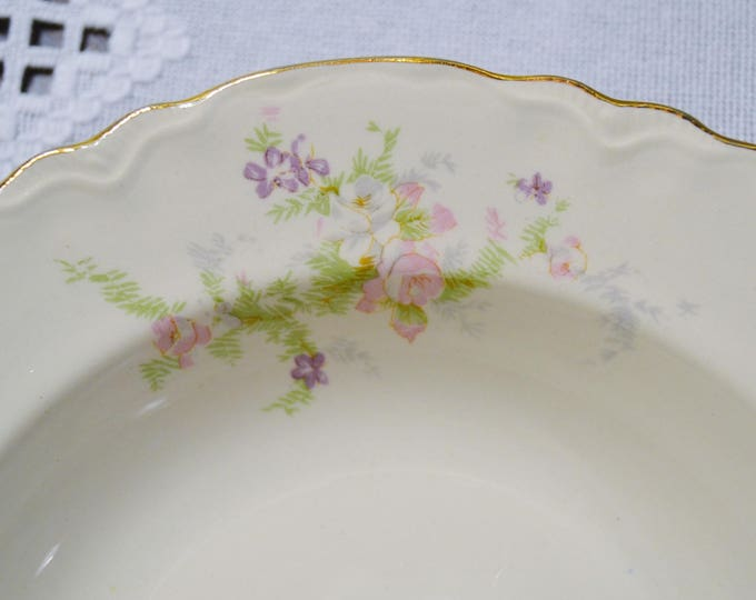 Vintage Homer Laughlin Virginia Rose Soup Bowl Set of 8 Pink Purple Flowers Vintage China Replacement USA PanchosPorch
