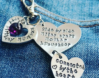 Personalized  Mother and daughter keyring, gift for mum or gift for daughter, birthday gift